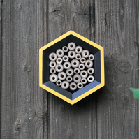 Bee House, Bee Hotel Insect House in Yellow & Black, Hexagon - Mother's Day Gift