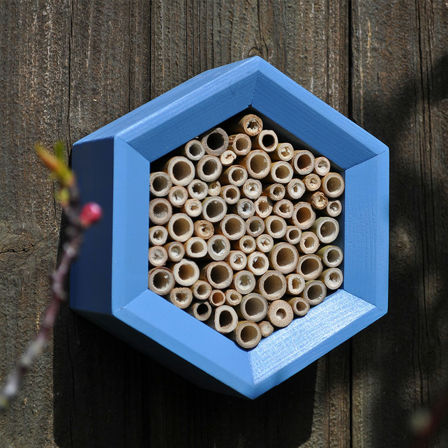 Bee House, Bee Hotel and Insect House in Blue, Honeycomb, Gift for Garden.
