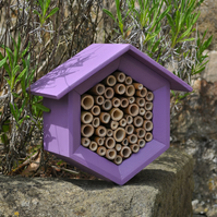 Bee House, Bee Hotel and Insect House in Purple, Hexagon - Gardener Gift