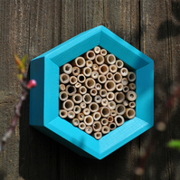 Bee House, Bee Hotel and Insect House in Blue & White, Hexagon. Gift for Garden.