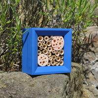 Bee House, Bee Hotel & Insect House in Barleywood Blue, Square, Gift for Garden.