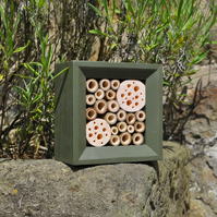 Bee House, Bee Hotel & Insect House in Woodland Green, Square, Gift for Garden.