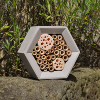 Bee House, Bee Hotel and Insect House in Light Clay, Honeycomb, Gift for Garden.