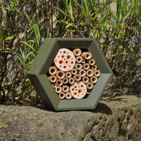 Bee House, Bee Hotel and Insect House in Woodland Green, Gift for Garden.