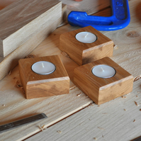 Pair of Solid Oak Tealight Holders