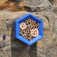 Bee Hotel, Handcrafted Bee Hotel in Blue, Perfect Christmas Gift for Gardeners