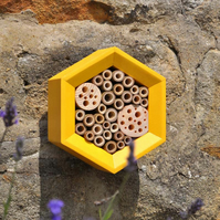 Solitary Bee Hotel, Bee Hotel in Yellow, Ideal Xmas Gift for Gardeners
