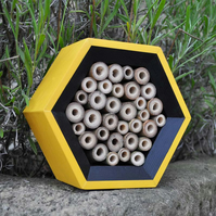 Bee Hotel in Yellow & Black, Handcrafted, Perfect Christmas Gift for Gardeners