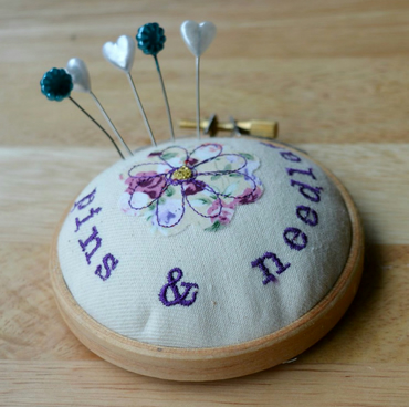 PINS & NEEDLES Embroidery hoop style pin cushion