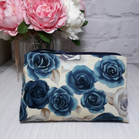 Rose Print Make Up Bag, Cosmetic Bag, Makeup Pouch, Fabric Bag