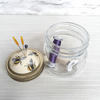 Jam Jar Pin cushion with screw lid for pins and needles  storage jar pin cushion