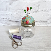 Jar Pin cushion with screw lid for pins and needles  storage jar pin cushion