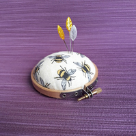 Pincushion, embroidery hoop  with bee fabric