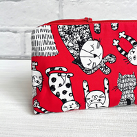 Cat  make up bag, cat cosmetic bag, make up storage