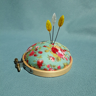 Pincushion, embroidery hoop  with flower fabric