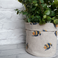 Bee Plant pot, Fabric Pot, Indoor Plant Pot, Fabric Storage,  Handmade Home