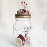 Large Pin cushion jar with screw lid for pins and needles