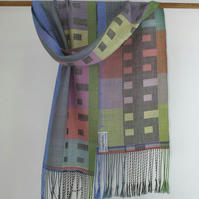Silk Scarf with Painted Terrace Cottages Design