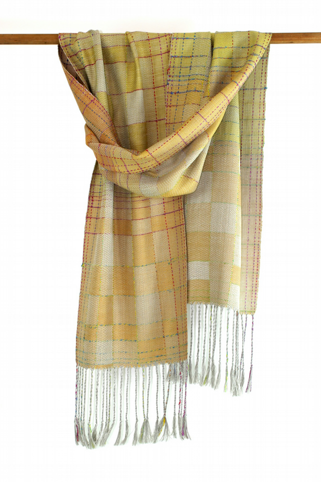 Natural dyed silk scarf