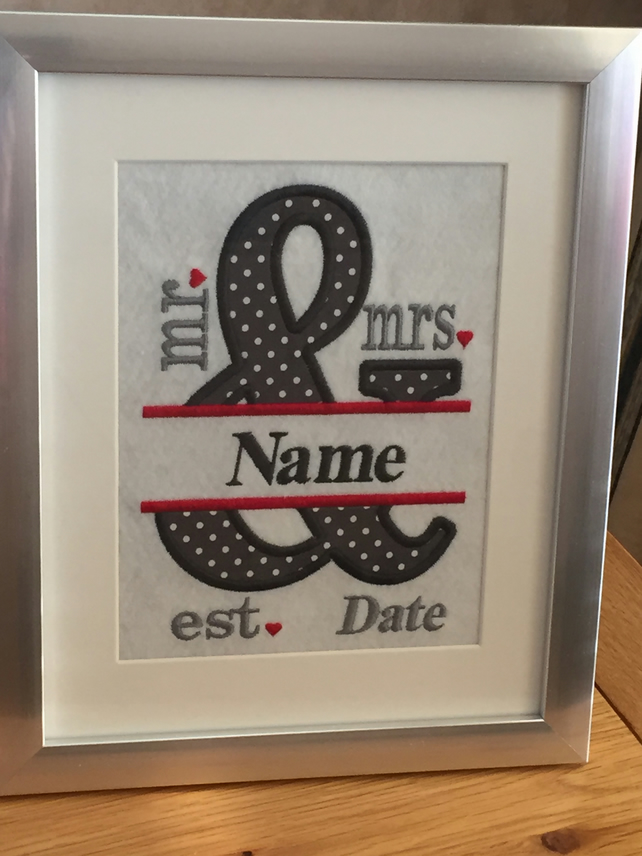 Personalised Embroidered Mr & Mrs Wedding Framed Picture