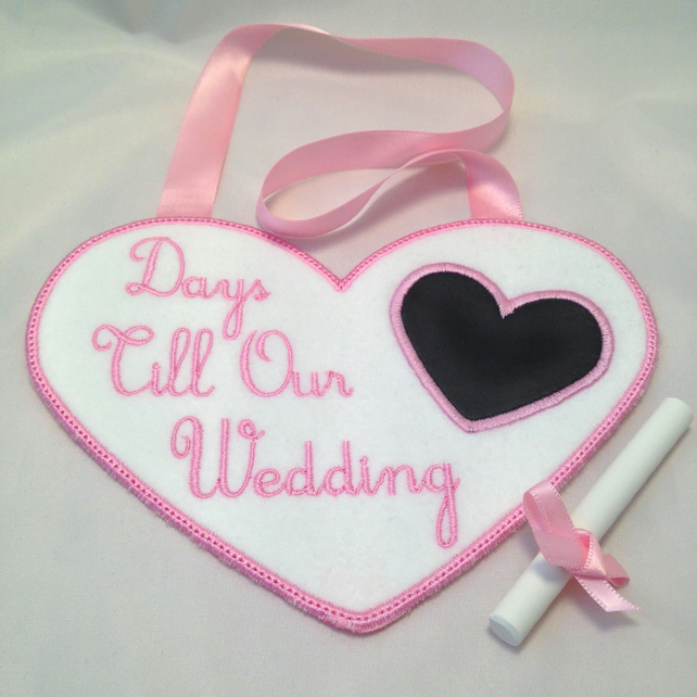 Embroidered Personalised Wedding Countdown Chalkboard Gift