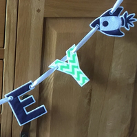 Personalised Letter Bunting - Blue & Green Rocket Name Garland Made To Order