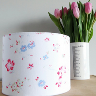 Drum Lampshade 20cm White Floral