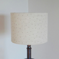 Drum Lampshade 20cm Biscuit Brown spotty on natural Linen