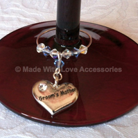 Groom's Mother Gifts - Wedding Favours - Wine Glass Charm - Top Table Decoration