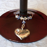 Groom Wine Glass Charm - Groom Wedding Favour -  Wedding Accessories
