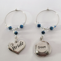 Bride & Groom Top Hat Wine Class Charms
