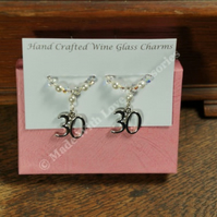 Pearl Anniversary Gifts - 30th Wedding Anniversary - Wine Glass Charms