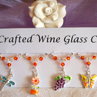 Garden Themed Wine Glass Charms - Mothers Day Gifts - New Home Gift