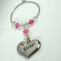 Sister Wine Glass Charm - Sister Gift Ideas - Wine Glass Charms - Wedding Favour