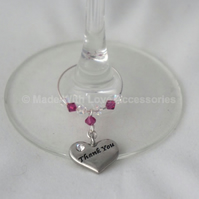 Thank you Wine Glass Charm - Wedding Favours - Teacher Thank you Gifts -