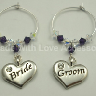 Bride & Groom Wine Glass Charms - Bridal Wedding Favours