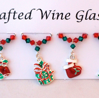Wine Glass Charms - Christmas Wine Glass Charms -  Christmas Decorations