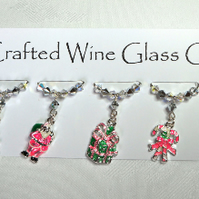 Wine Glass Charms - Pink Christmas Wine Glass Charms - Table Decorations -