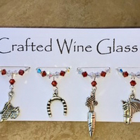 Wine Glass Charms - Horse Themed - Horse Charms - Christmas Stocking Fillers