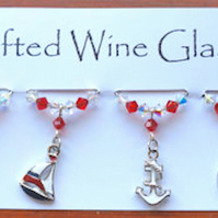 Wine Glass Charms , Sailing Charms, Boat Charms, - Swarovski Crystal Charms, New