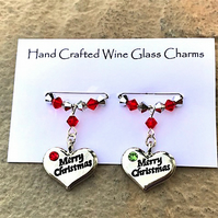 Stocking Fillers - Christmas Wine Glass Charms - Teachers Gifts - Merry Christma