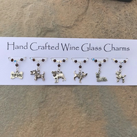 Wine Glass Charms - Birthday Gifts - New Home - Dogs - Mothers Day