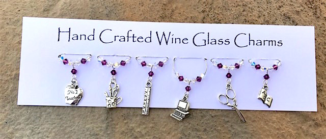 Teacher Gifts - Wine Glass Charms - School - Thank You Gifts - Birthday Gifts