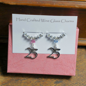 25th Wedding Anniversary Gift - Wine Glass Charms - Silver Wedding Anniversary G