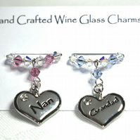 Nan and Grandad Wine Glass Charms  - Anniversary Gifts