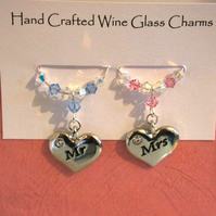 Mr & Mrs Wine Glass Charms - Wedding Gifts - Wine Glass Charms - Top Table
