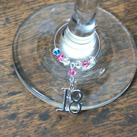 18th Birthday Gift Ideas - 18th Wine Glass Charm - 18th Heart Charm