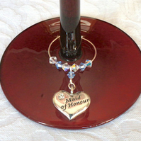 Maid of Honour Wine Glass Charms - Maid of Honour - Wedding Favours