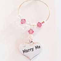 Wedding Proposal - Will You Marry Me - Wine Glass Charm - Engagement - Valentine