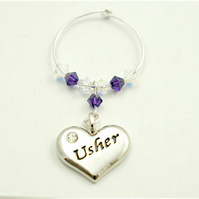 Usher Gifts - Wine Glass Charms - Wedding Favours - Top Table Decorations